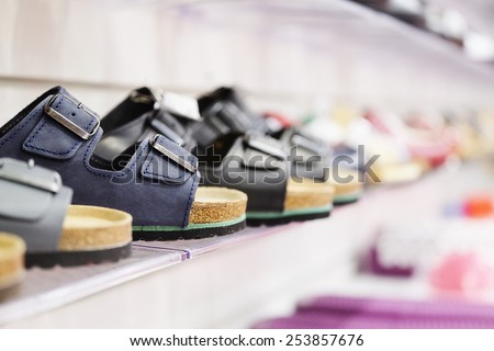 Sandals in row - stock photo