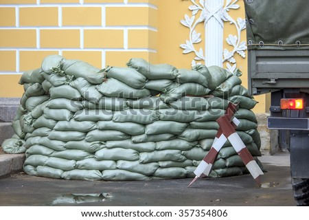 Sandbag bunker of the military base