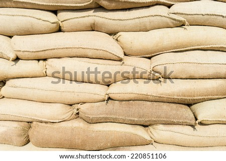 sandbags stacked to form a wall