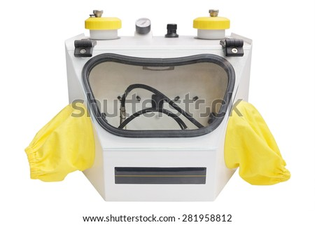 Sandblasting dental apparatus isolated under the white background - stock photo