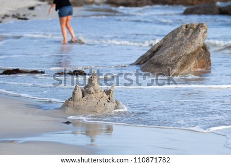 sandcastle at the beach - stock photo