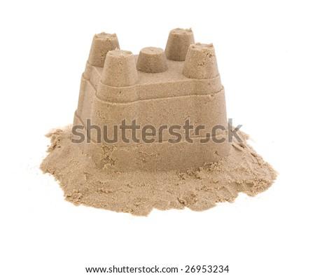 sandcastle on white - stock photo