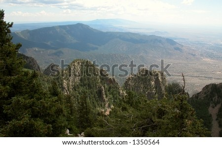 Sandia Mountains from the crest - stock photo