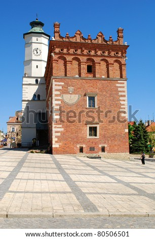 Sandomierz - May 11: Old town hall in Sandomierz, Poland. The town hall was build in the XIV century and the tower was build in the XVII century on May 11, 2011 in Sandomierz, Poland. - stock photo