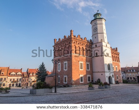 SANDOMIERZ, POLAND - OCTOBER 16: Part of the old town on october 16, 2015 in Sandomierz. Sandomierz is among oldest towns in Poland, dating back to at least 1227. - stock photo