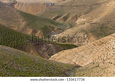 Sands of Judean Desert (Israel), from a hill - stock photo