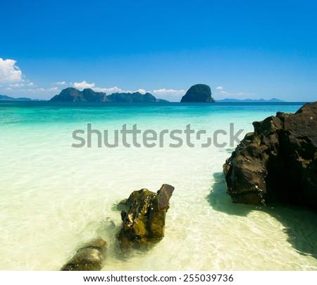 Sands of White Paradise Wallpaper  - stock photo