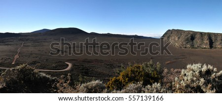 Sands plain High View in Peak of The Furnace Volcano with blue sky
