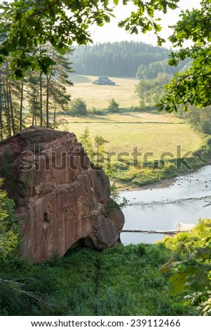 sandstone cliffs on the river shore in the Gaujas National Park, Latvia