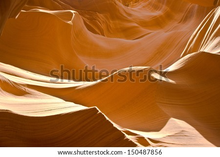 Sandstone Formation in Antelope Canyon - stock photo