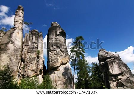 Sandstone rock city - National park of Adrspach-Teplice rocks - Czech Republic/Europe - stock photo