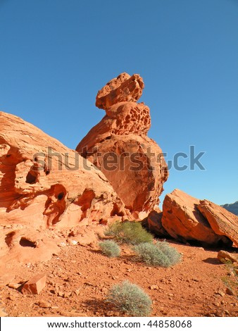 Sandstone rock formation in the Valley of Fire State Park in Nevada - stock photo