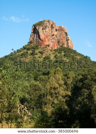 Sandstone rock in up-country Sao Paulo - Brazil - stock photo