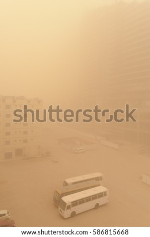 Sandstorm Covers City Overnight Stock Photo Royalty Free 586815668