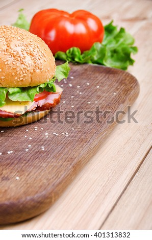 Sandwich and vegetable. Food. Fresh & healthy food. Concept - stock photo