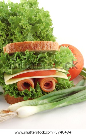 Sandwich and vegetables