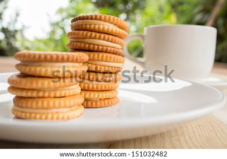 Sandwich biscuits on the table - stock photo