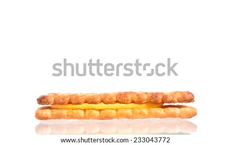 Sandwich biscuits on white background - stock photo