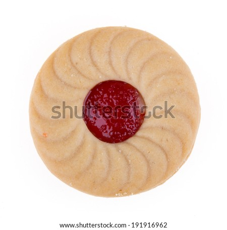 Sandwich biscuits with strawberry filling - stock photo