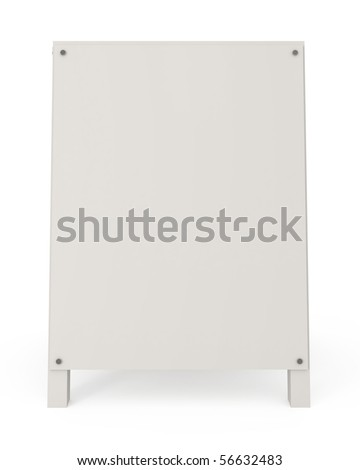 Sandwich board isolated on white - 3d illustration - stock photo