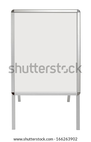 Sandwich board with empty canvas isolated on white. Just place your own message. - stock photo