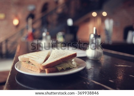 sandwich, breakfast in a cafe - stock photo