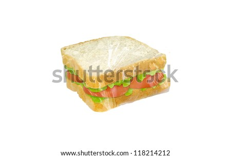sandwich covered in protective plastic film on white background