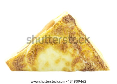 Sandwich golden melted with ham  on white background