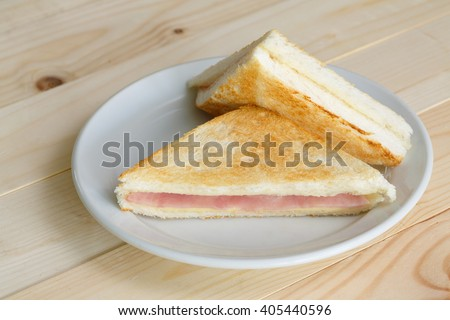 sandwich ham cheese on a plate - stock photo