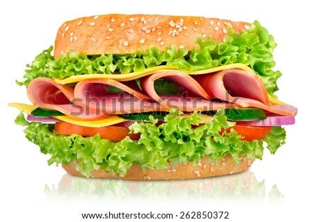 Sandwich, ham, food. - stock photo