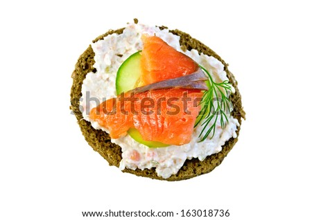 Sandwich of rye bread with cream, cucumber, dill and salmon isolated on white background from above - stock photo
