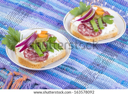 Sandwich of white bread with cucumber,salami, onions and herbs - stock photo