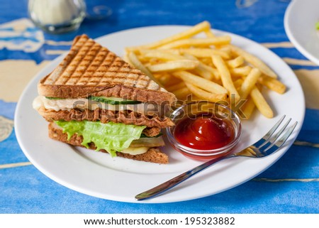 Sandwich on plate and fried