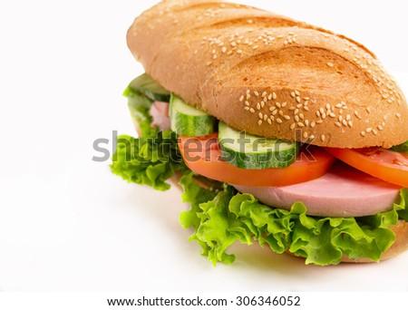 Sandwich on white - stock photo