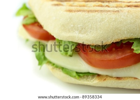 Sandwich on white background - stock photo