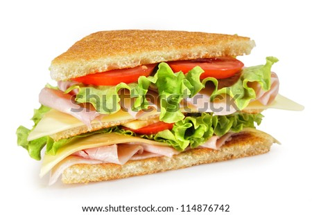 Sandwich over white background.