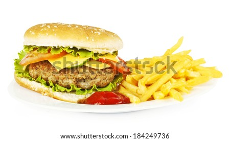 Sandwich, potato with ketchup on a white background