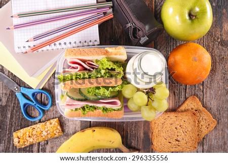 sandwich school lunch - stock photo