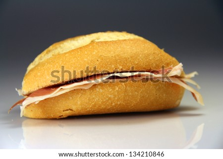 Sandwich Spain typical bread with various fillings
