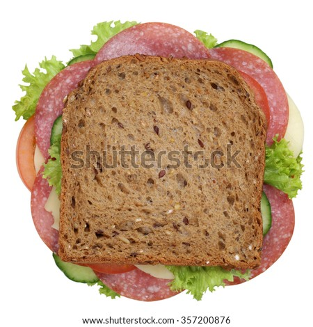 Sandwich toast bread for breakfast with salami, cheese, tomatoes, lettuce top view isolated on a white background - stock photo