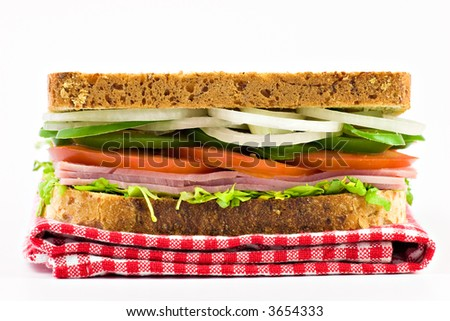 sandwich, vegetables, salad, onion, sweet pepper, tomato and ham