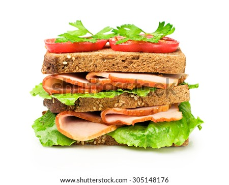 Sandwich with a ham and tomatoes isolated over white - stock photo