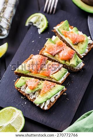 Sandwich Avocado Smoked Salmon Stock Photo 266596799 - Shutterstock