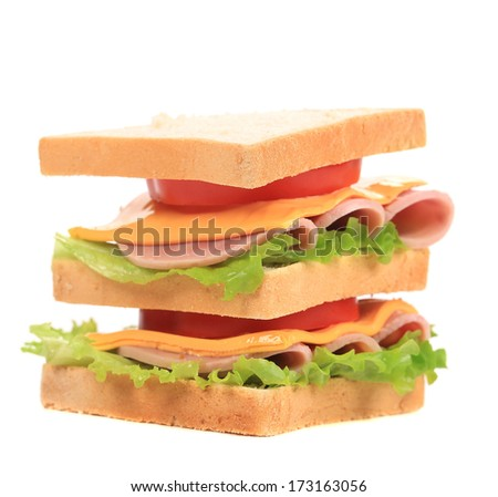 Sandwich with bacon and vegetables. Isolated on a white background.