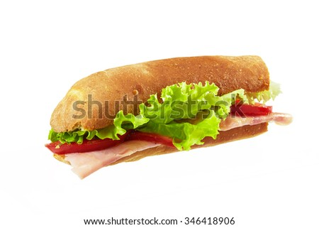 Sandwich with bacon and vegetables isolated on white background