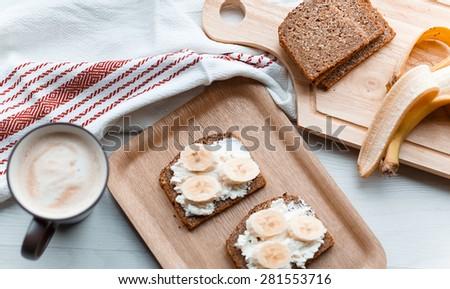 sandwich with banana - stock photo