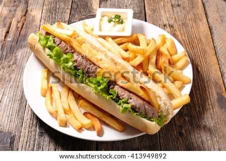 sandwich with beef and french fries - stock photo