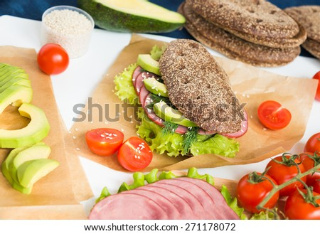 Sandwich with Beef Ham and Vegetables