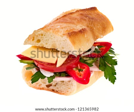 Sandwich with cheese and vegetables on white background