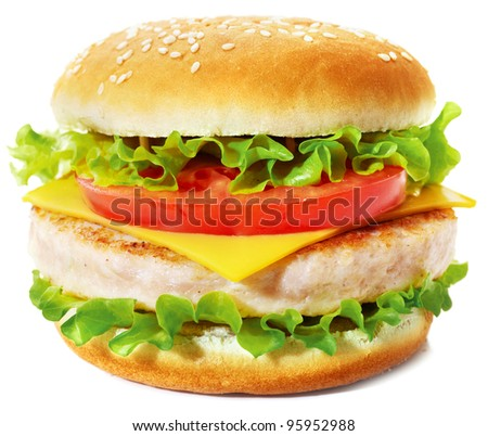 Sandwich with cheese, lettuce, tomato and chicken cutlet. Studio shooting on white background with shadow. - stock photo